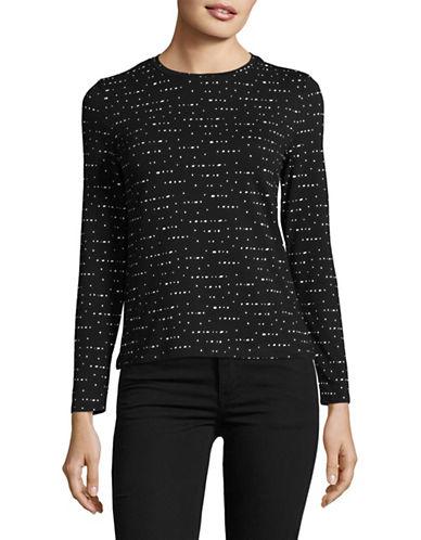 Lord & Taylor Petite Dot Print T-Shirt-BLACK-Petite Medium
