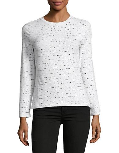 Lord & Taylor Petite Dot Print T-Shirt-WHITE-Petite X-Large