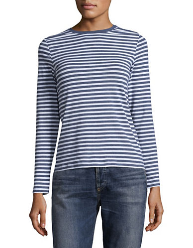 Lord & Taylor Petite Essential Striped Stretch Crew Neck Top-TOPAZ HEATHER MULTI-Petite X-Small