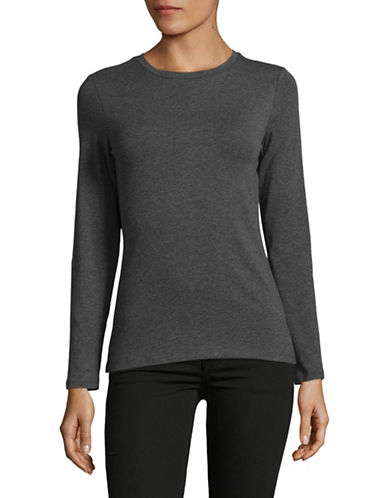 Lord & Taylor Petite Long-Sleeve T-Shirt-GRAPHITE HEATHER-Petite Medium
