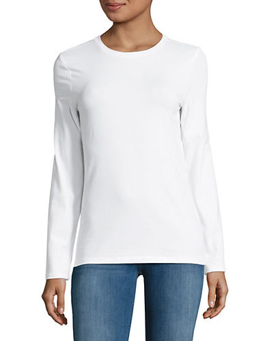 Lord & Taylor Petite Essential Stretch Crew Neck Top-WHITE-Petite X-Small