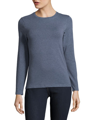 Lord & Taylor Petite Essential Stretch Crew Neck Top-TOPAZ HEATHER-Petite Small