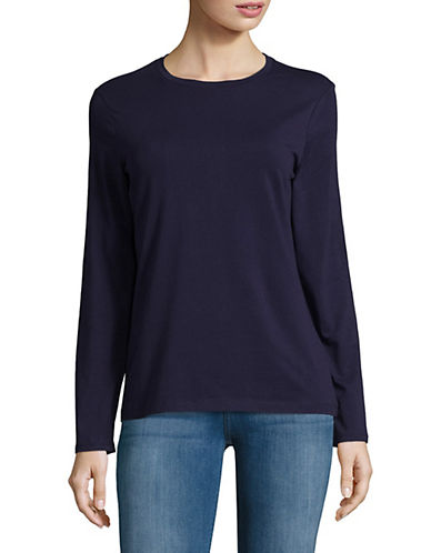 Lord & Taylor Petite Essential Stretch Crew Neck Top-EVENING BLUE-Petite Large