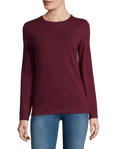 Lord & Taylor Petite Essential Stretch Crew Neck Top-DEEP MERLOT-Petite X-Large