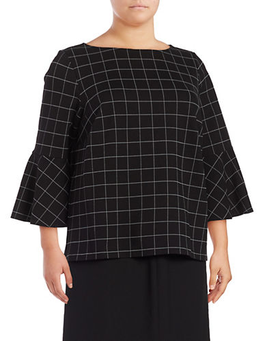 Lord & Taylor Plus  Windowpane Bell Sleeve Top-BLACK-2X