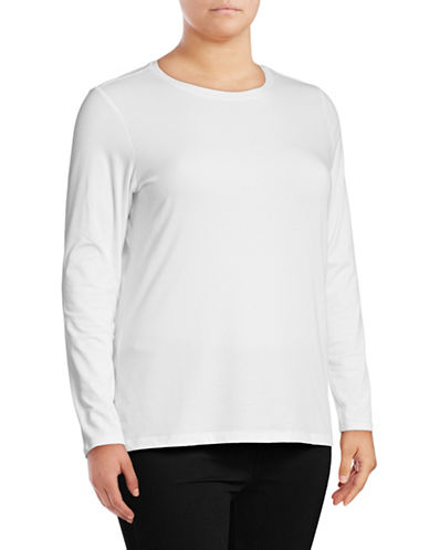 Lord & Taylor Plus Essential Stretch Crew Neck Top-WHITE-2X