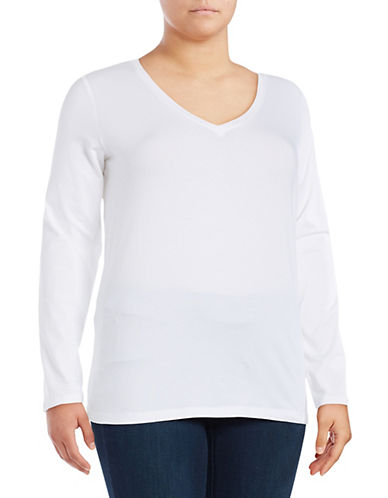 Lord & Taylor Plus Long Sleeve V-Neck T-Shirt-WHITE-0X