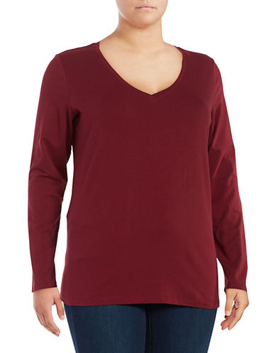 Lord & Taylor Plus Long Sleeve V-Neck T-Shirt-DEEP MERLOT-0X