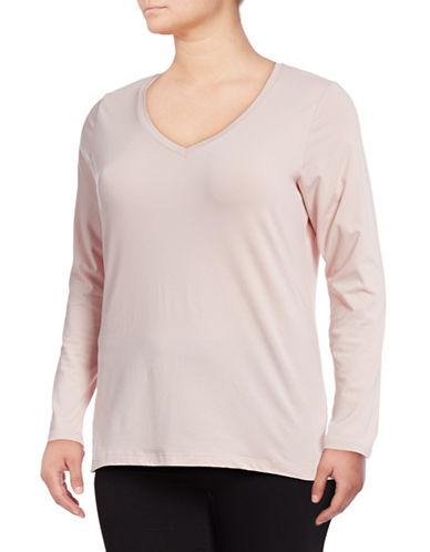 Lord & Taylor Plus Long Sleeve V-Neck T-Shirt-HUSHED VIOLET-1X