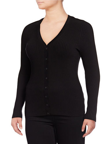 Lord & Taylor Plus V-Neck Ribbed Cardigan-BLACK-1X