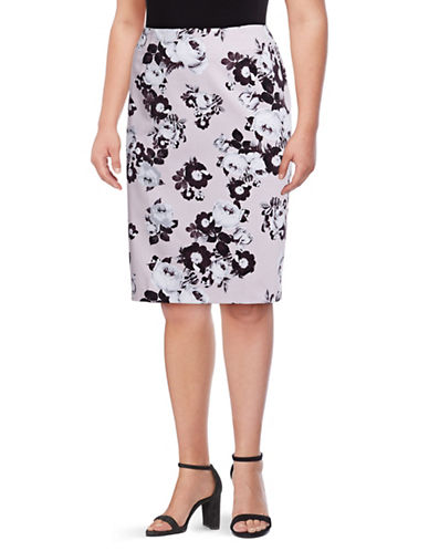 Lord & Taylor Plus  Roses Pencil Skirt-VIOLET-16W