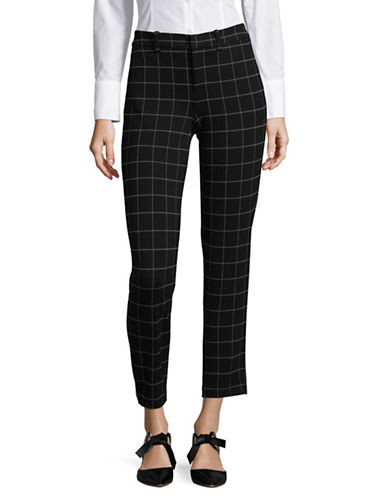 Lord & Taylor Windowpane Cropped Trousers-BLACK-Small
