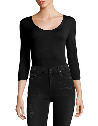 Lord & Taylor Stretch Cotton Bodysuit-BLACK-Medium