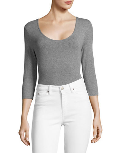 Lord & Taylor Stretch Cotton Bodysuit-HEATHER GREY-Medium
