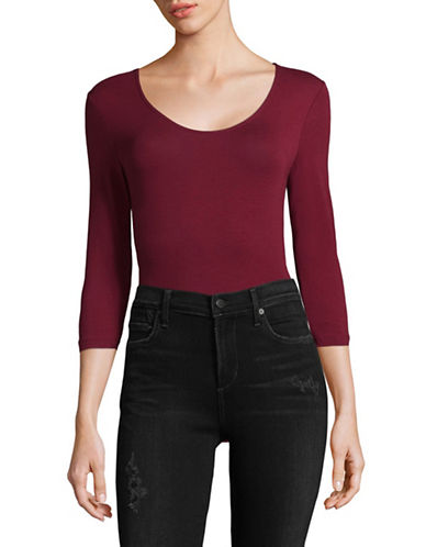 Lord & Taylor Stretch Cotton Bodysuit-DEEP MERLOT-Small