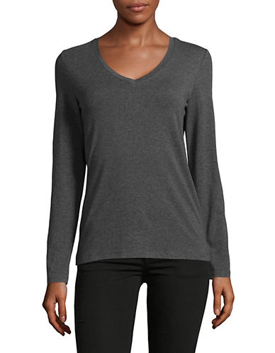 Lord & Taylor Long Sleeve V-Neck Cotton T-Shirt-GRAPHITE HEATHER-Large