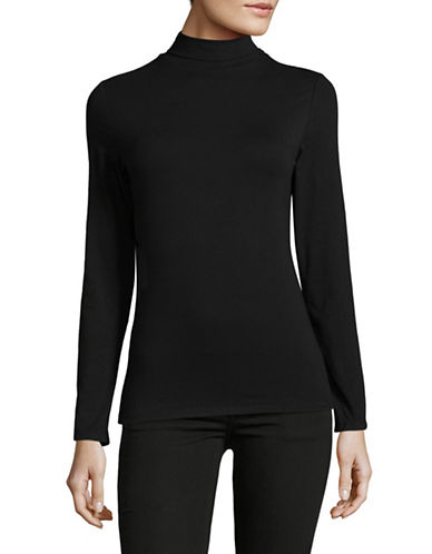 Lord & Taylor Cotton Long Sleeve Turtleneck-BLACK-X-Large