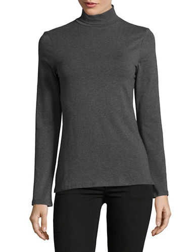 Lord & Taylor Cotton Long Sleeve Turtleneck-GRAPHITE HEATHER-Medium