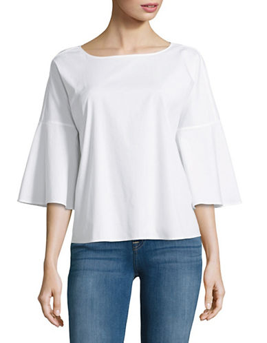 Lord & Taylor Petite Mia Bell Sleeve Blouse-WHITE-Petite Small