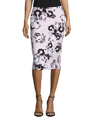 Lord & Taylor Petite Floral Pencil Skirt-HUSHED VIOLET-Petite 8