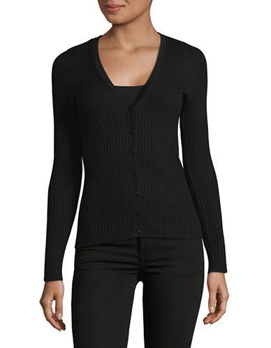 Lord & Taylor Petite V-Neck Ribbed Cardigan-BLACK-Petite Medium