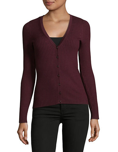 Lord & Taylor V-Neck Ribbed Cardigan-BEGONIA-X-Large