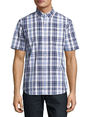 Black Brown 1826 Plaid For Dad Short Sleeve Shirt-BLUE-X-Large