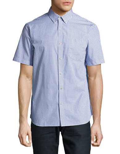 Black Brown 1826 Plaid For Dad Short Sleeve Shirt-PALE BLUE-Medium
