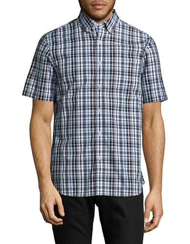 Black Brown 1826 Plaid For Dad Short Sleeve Shirt-TURQUOISE BLUE-Small