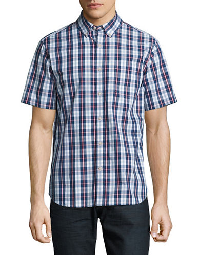 Black Brown 1826 Plaid For Dad Short Sleeve Shirt-RED/BLUE-X-Large