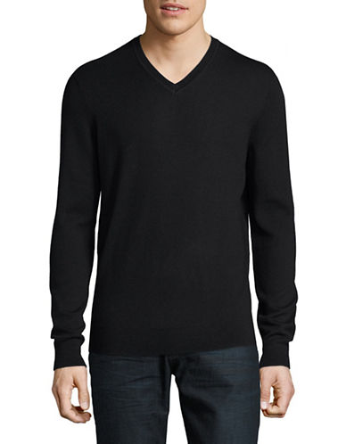 Black Brown 1826 Extrafine Merino Wool Sweater-BLACK-Medium