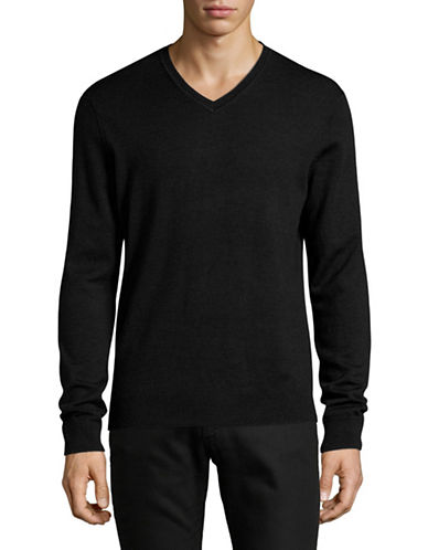 Black Brown 1826 Extrafine Merino Wool Sweater-GREY-X-Large