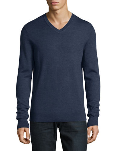 Black Brown 1826 Extrafine Merino Wool Sweater-BLUE-X-Large