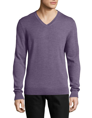 Black Brown 1826 Extrafine Merino Wool Sweater-PURPLE-Large