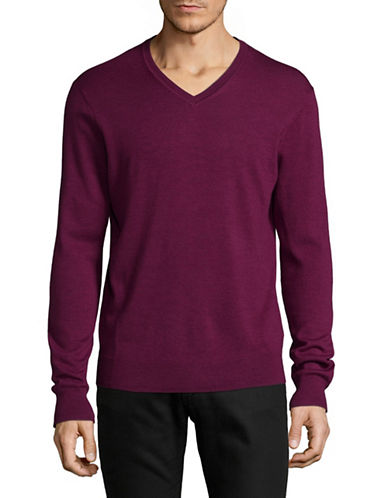 Black Brown 1826 Extrafine Merino Wool Sweater-CRANBERRY-Medium