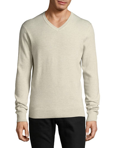 Black Brown 1826 Extrafine Merino Wool Sweater-WHITE-X-Large