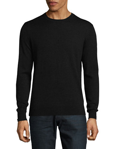 Black Brown 1826 Extra-fine Wool Crew Sweater-CHARCOAL-Large