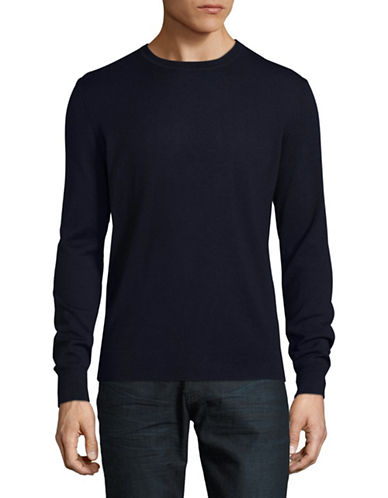 Black Brown 1826 Extra-fine Wool Crew Sweater-NAVY-X-Large