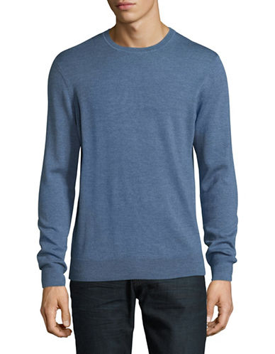 Black Brown 1826 Extra-fine Wool Crew Sweater-BLUE-Large