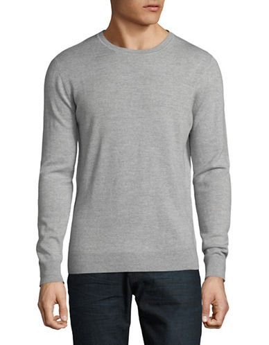 Black Brown 1826 Crew Neck Merino Wool Sweater-GREY-XXX-Large