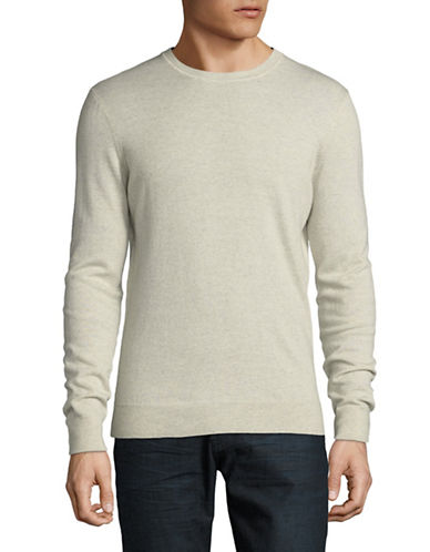Black Brown 1826 Crew Neck Merino Wool Sweater-WHITE-Small