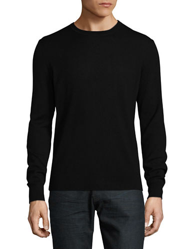 Black Brown 1826 Extra-fine Wool Crew Sweater-BLACK-Large