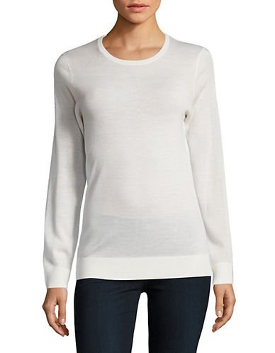 Lord & Taylor Basic Crew Neck Merino Sweater-IVORY-Small