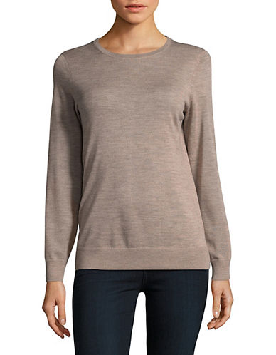 Lord & Taylor Basic Crew Neck Merino Sweater-CASHEW HEATHER-Medium