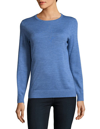 Lord & Taylor Basic Crew Neck Merino Sweater-TOPAZ HEATHER-Medium