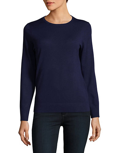 Lord & Taylor Basic Crew Neck Merino Sweater-EVENING BLUE-X-Small