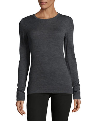 Lord & Taylor Basic Crew Neck Merino Sweater-GRAPHITE HEATHER-X-Small