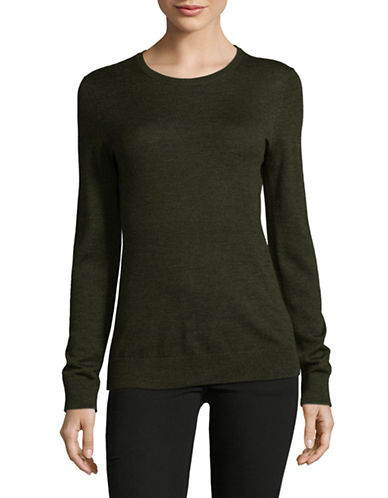 Lord & Taylor Basic Crew Neck Merino Sweater-MOSS HEATHER-X-Small