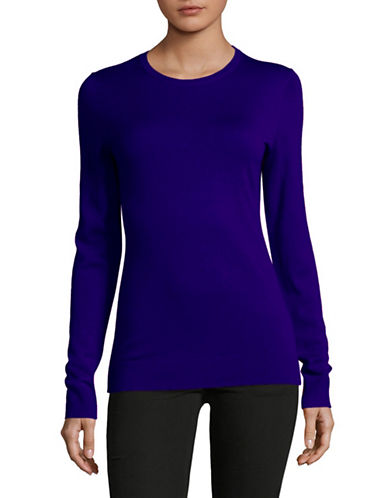 Lord & Taylor Basic Crew Neck Merino Sweater-VIVID COBALT-Large