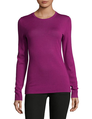 Lord & Taylor Basic Crew Neck Merino Sweater-CRUSHED VIOLET-Large